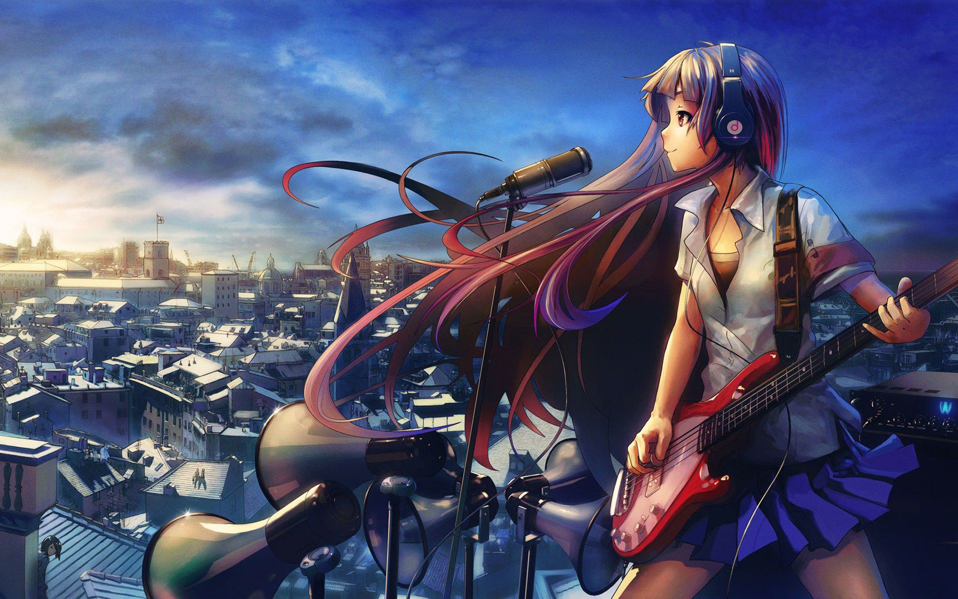 Anime Girls With Guitar Desktop HD Wallpapers in HD