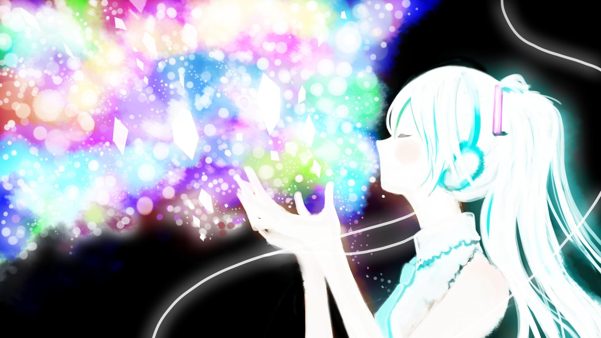 miku, Vocaloid, Anime, Girl, Glitter Wallpaper, Background Mac .