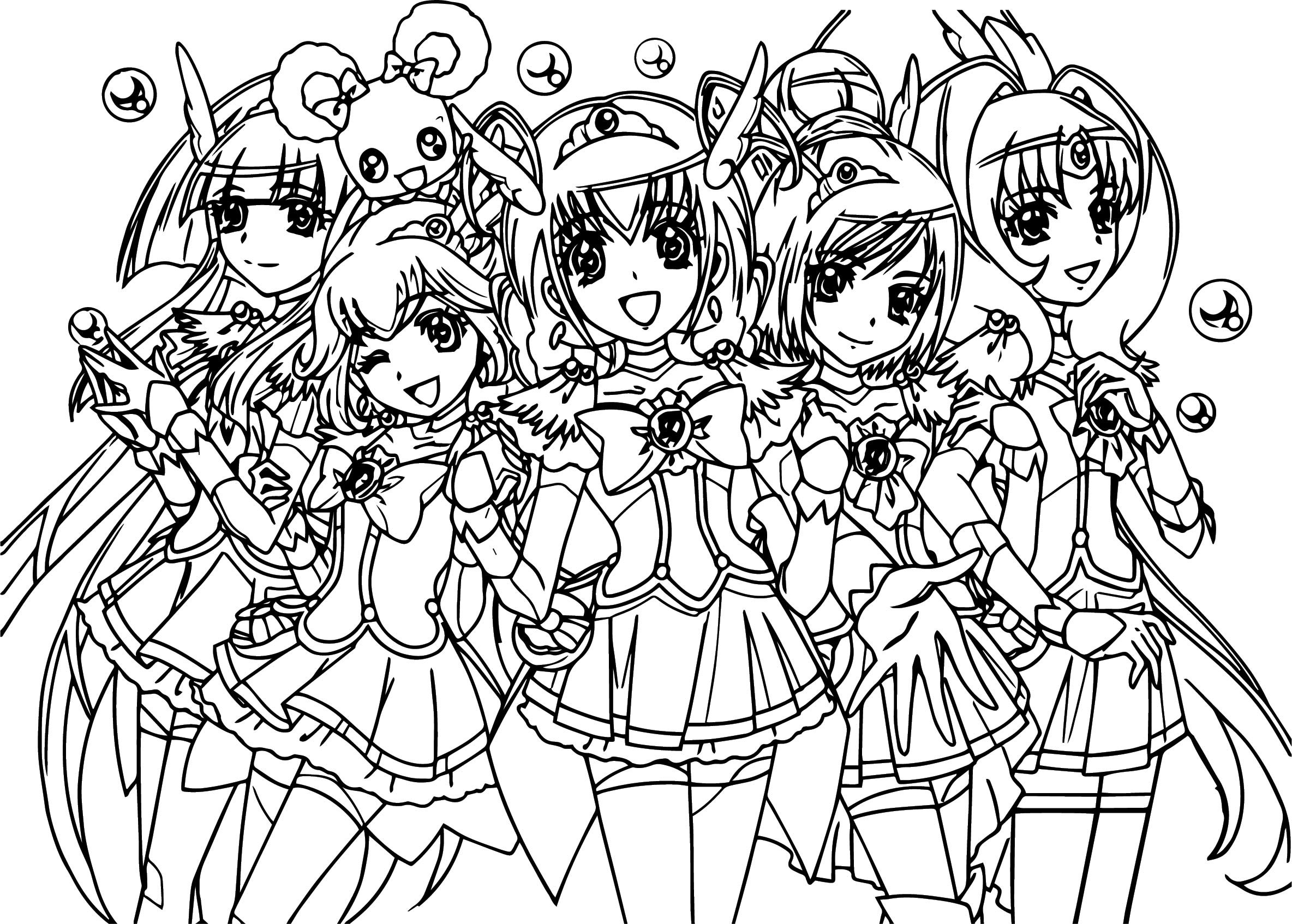 Smile Precure Glitter Force Team Coloring Page