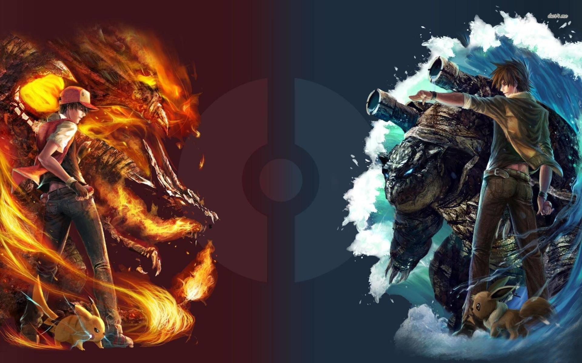 red vs blue – Pokemon Wallpaper
