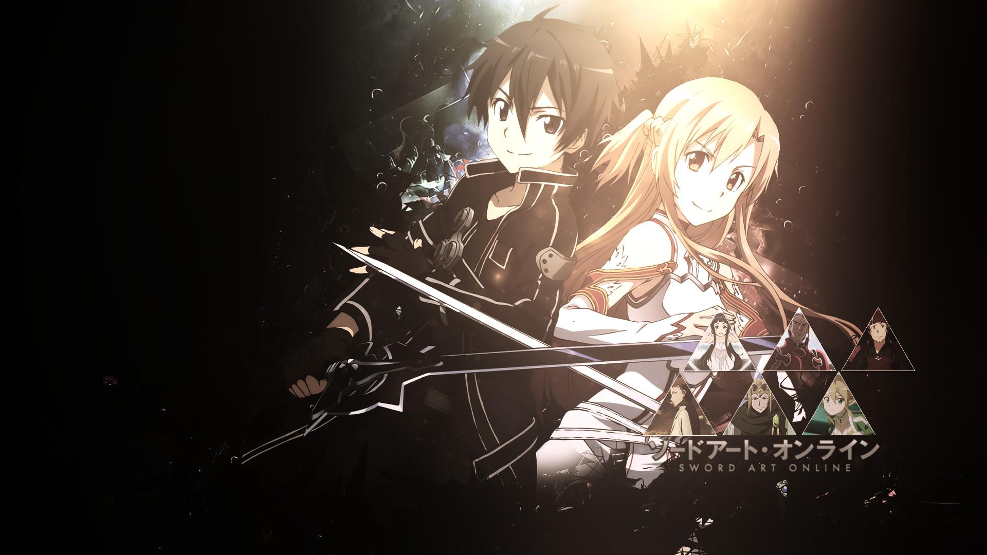 Anime – Sword Art Online Long Hair Orange Eyes Brunette Blonde Asuna Yuuki  Kirito (Sword