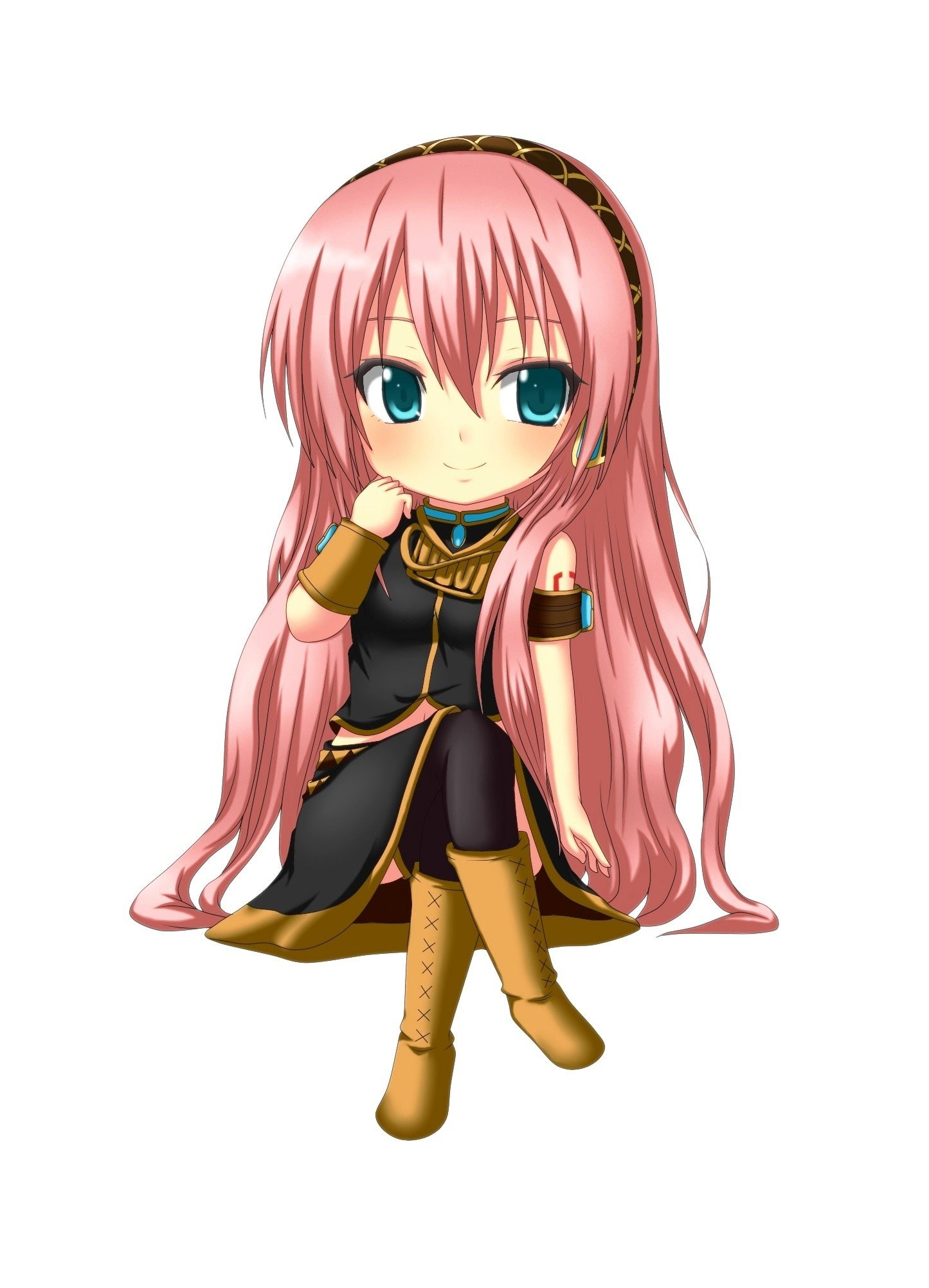Vocaloid Megurine Luka chibi long hair pink hair aqua eyes simple … Cute  GirlsPink HairVocaloidAnime GirlsWallpaperOtakuManga