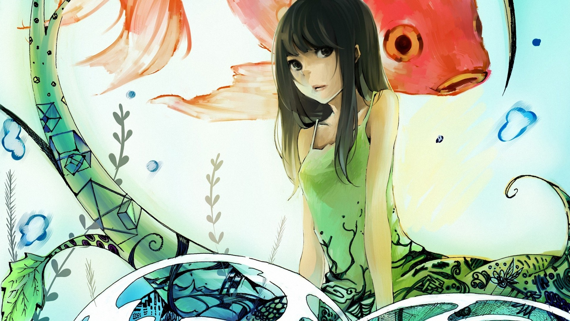 Cute Anime Girl & Fishes desktop PC and Mac wallpaper