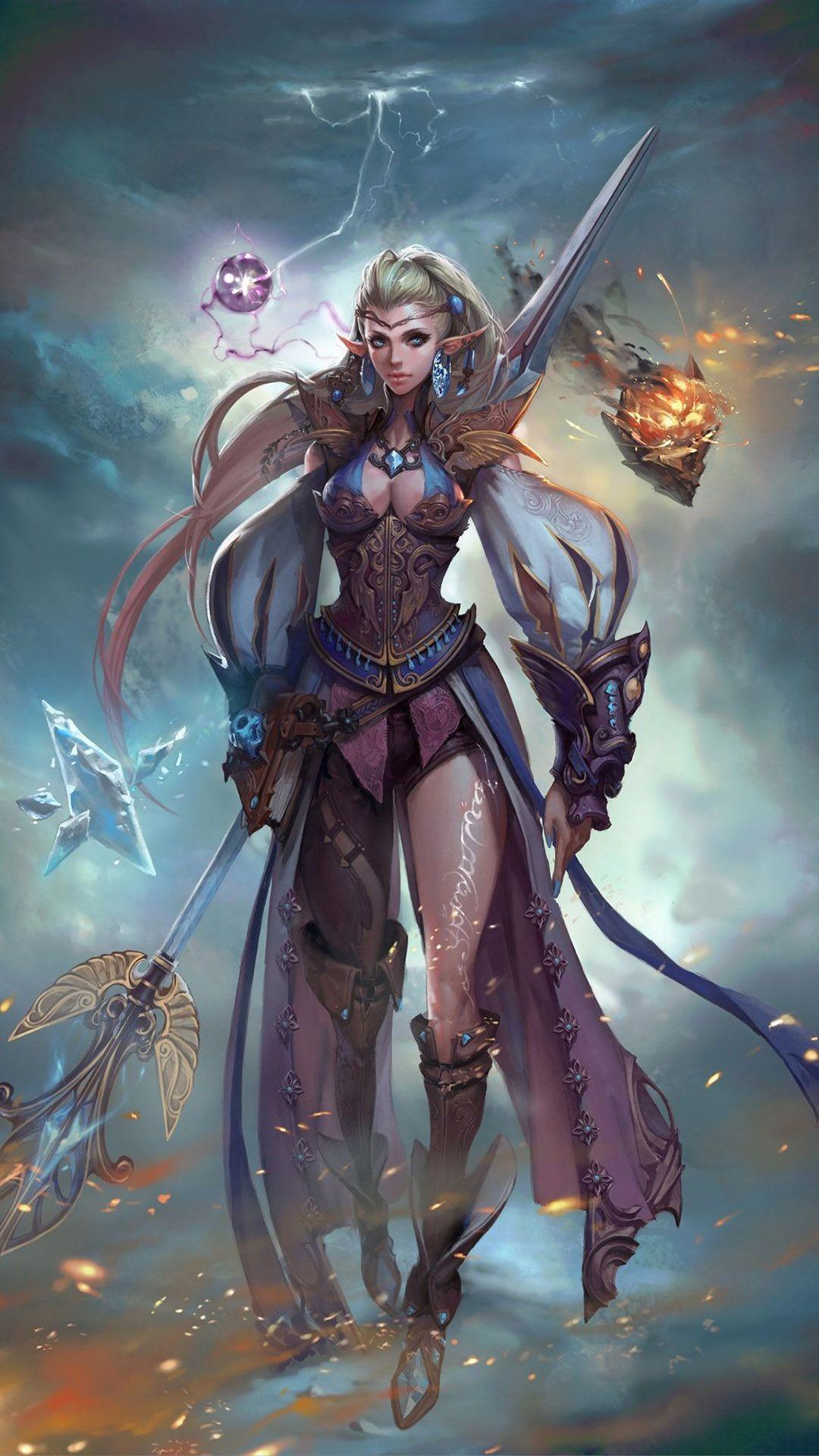 … Elf warrior girl Anime mobile wallpaper