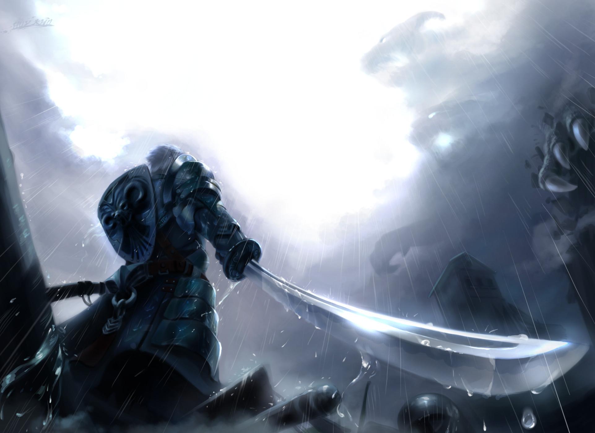 Anime – Original Knight Anime Warrior Original (Anime) Cloud Rain Sword  Weapon Armor Shield