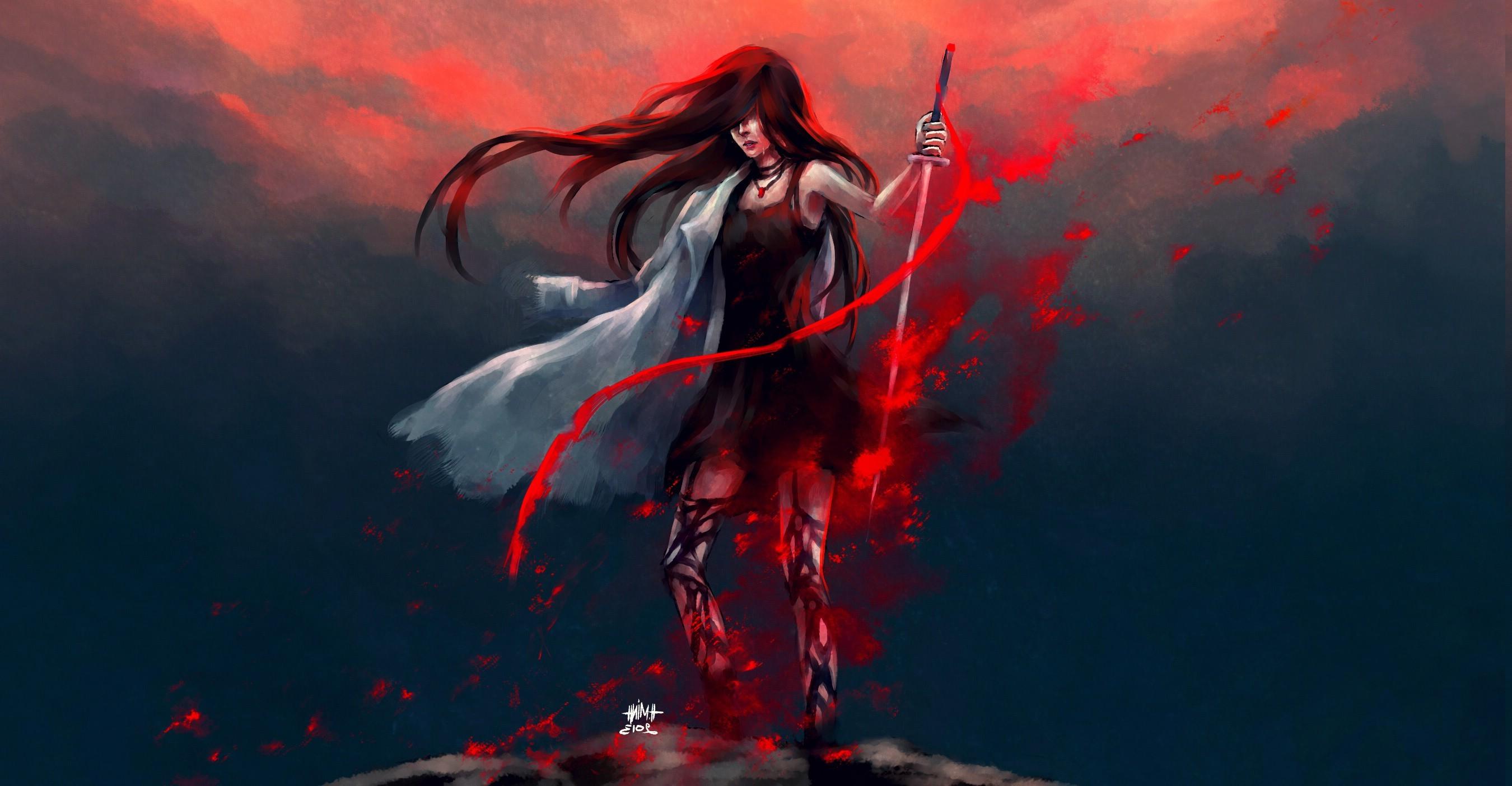 artwork, Fantasy Art, Anime, Warrior, Redhead, Blood, NanFe, Original