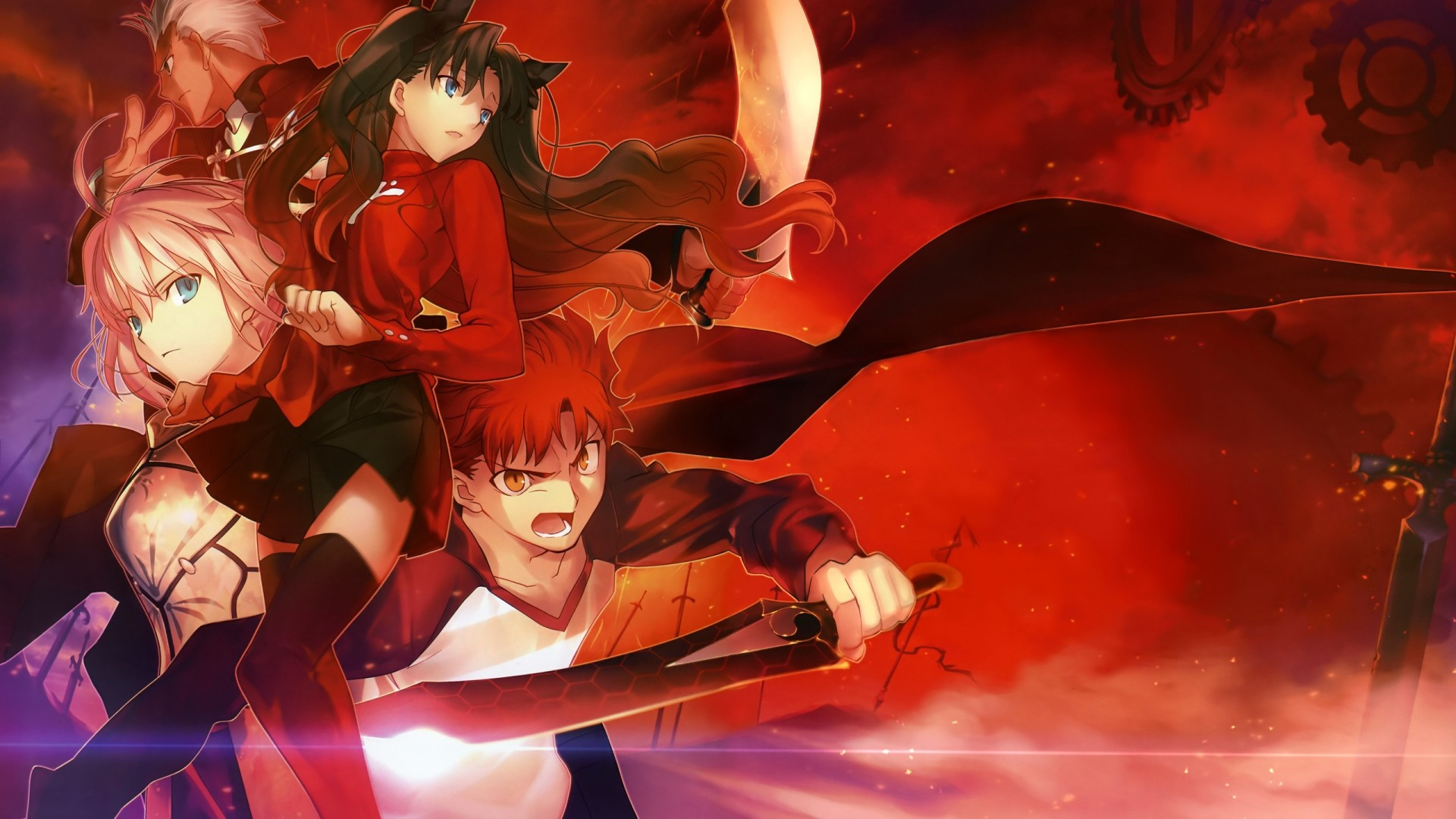 Wallpaper fate stay night, anime, warrior, space, background