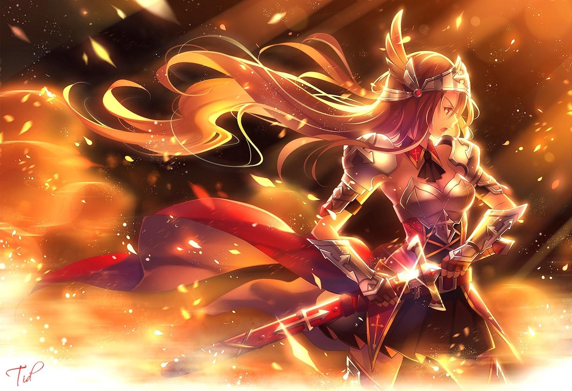 Anime – Original Blonde Armor Sword Anime Woman Warrior Girl Long Hair  Wallpaper