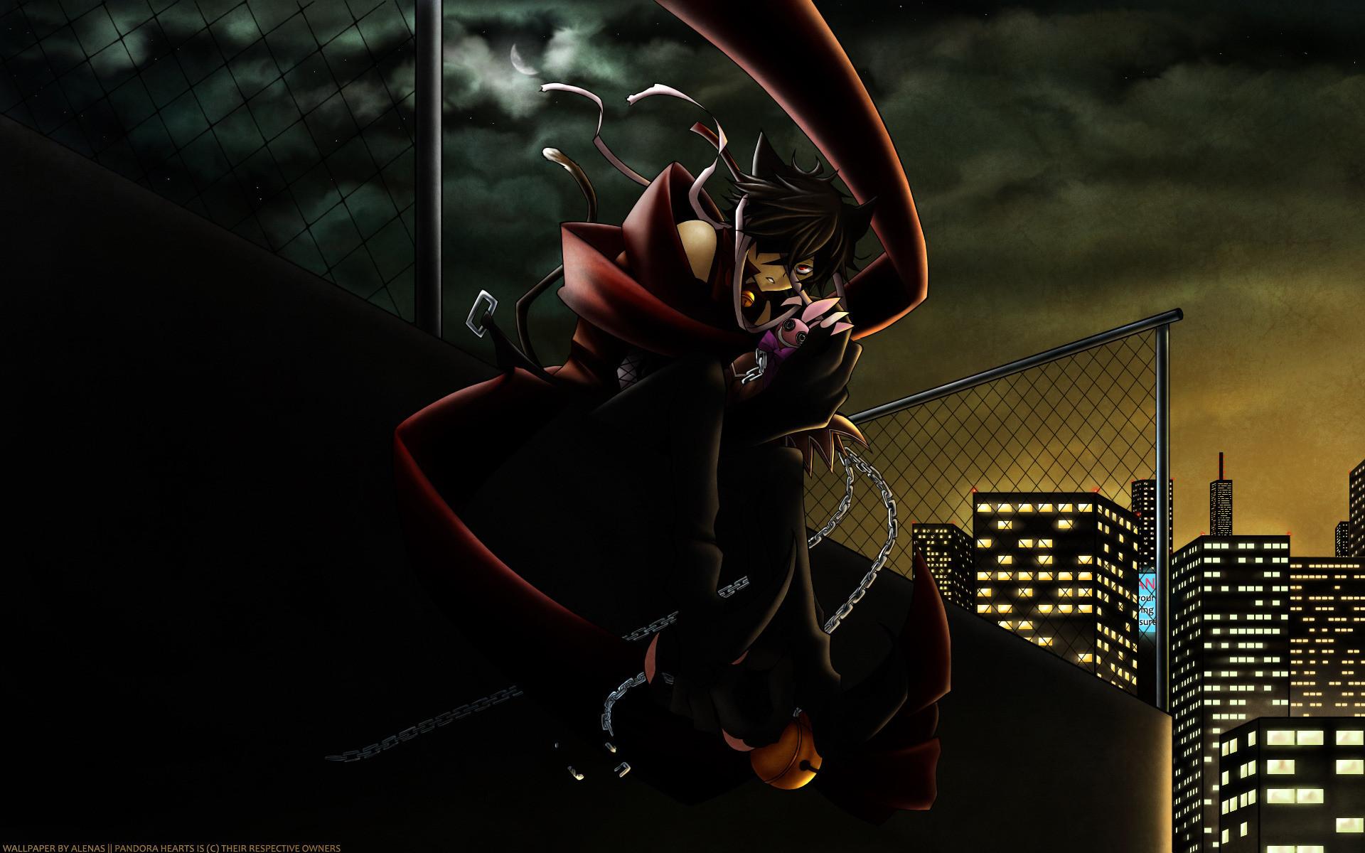 Anime warrior in dark city