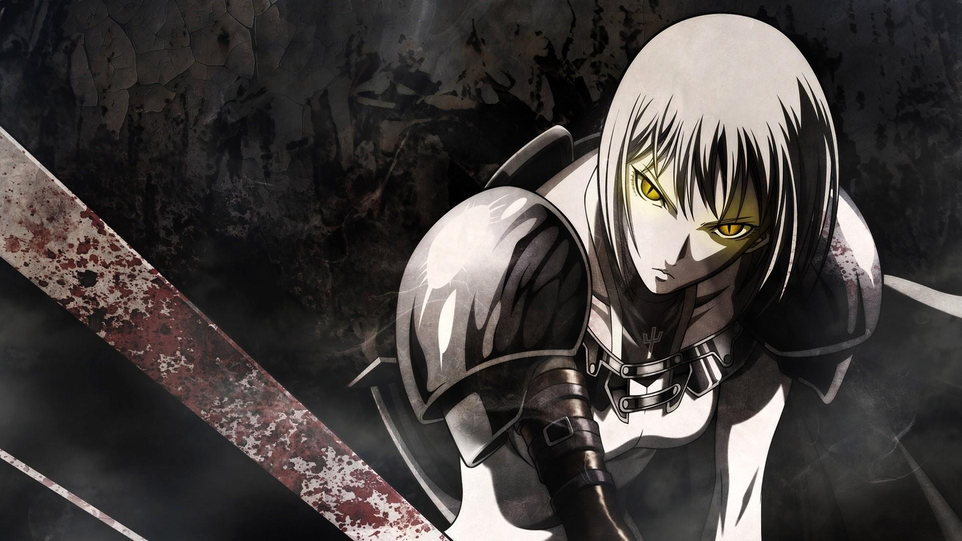 Preview wallpaper anime, sword, warrior, look, blood 1920×1080