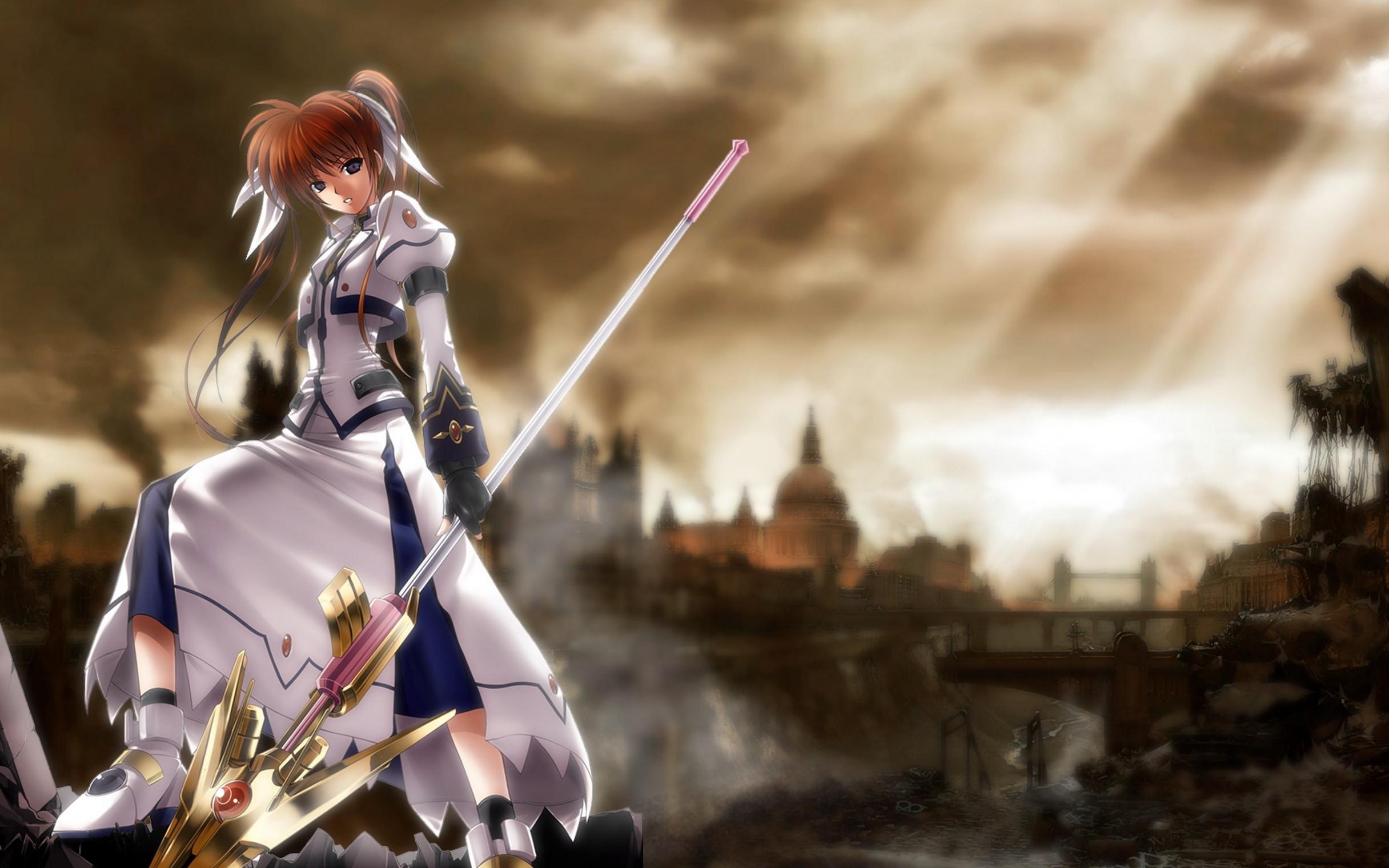 Magical Girl Lyrical Nanoha Girl Gun Landscape Warrior Anime Wild Hd  Wallpaper ASV297