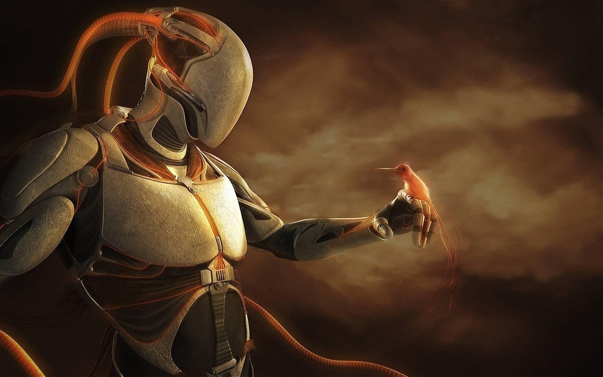 robots have feelings, robot, bird, art, fantasy