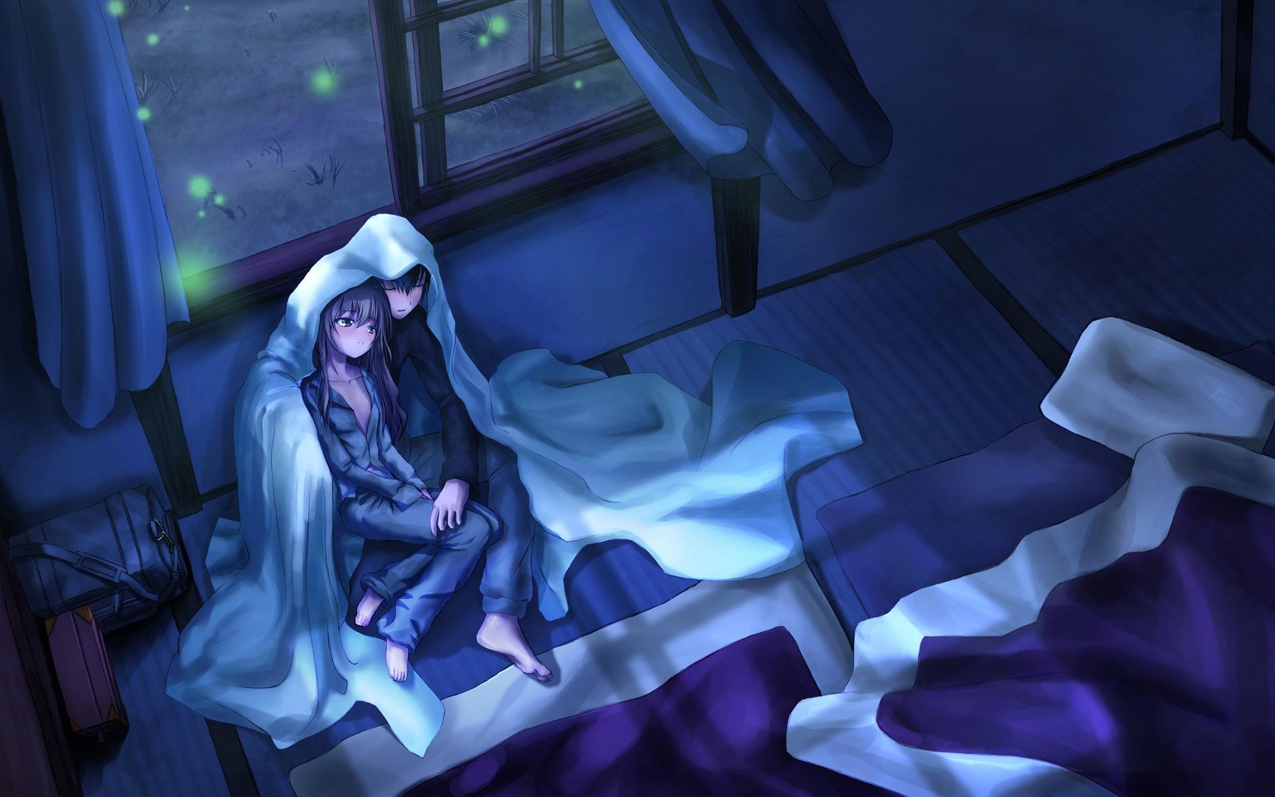 Boy Girl Night Blanket Room Superb Anime Phone Wallpapers
