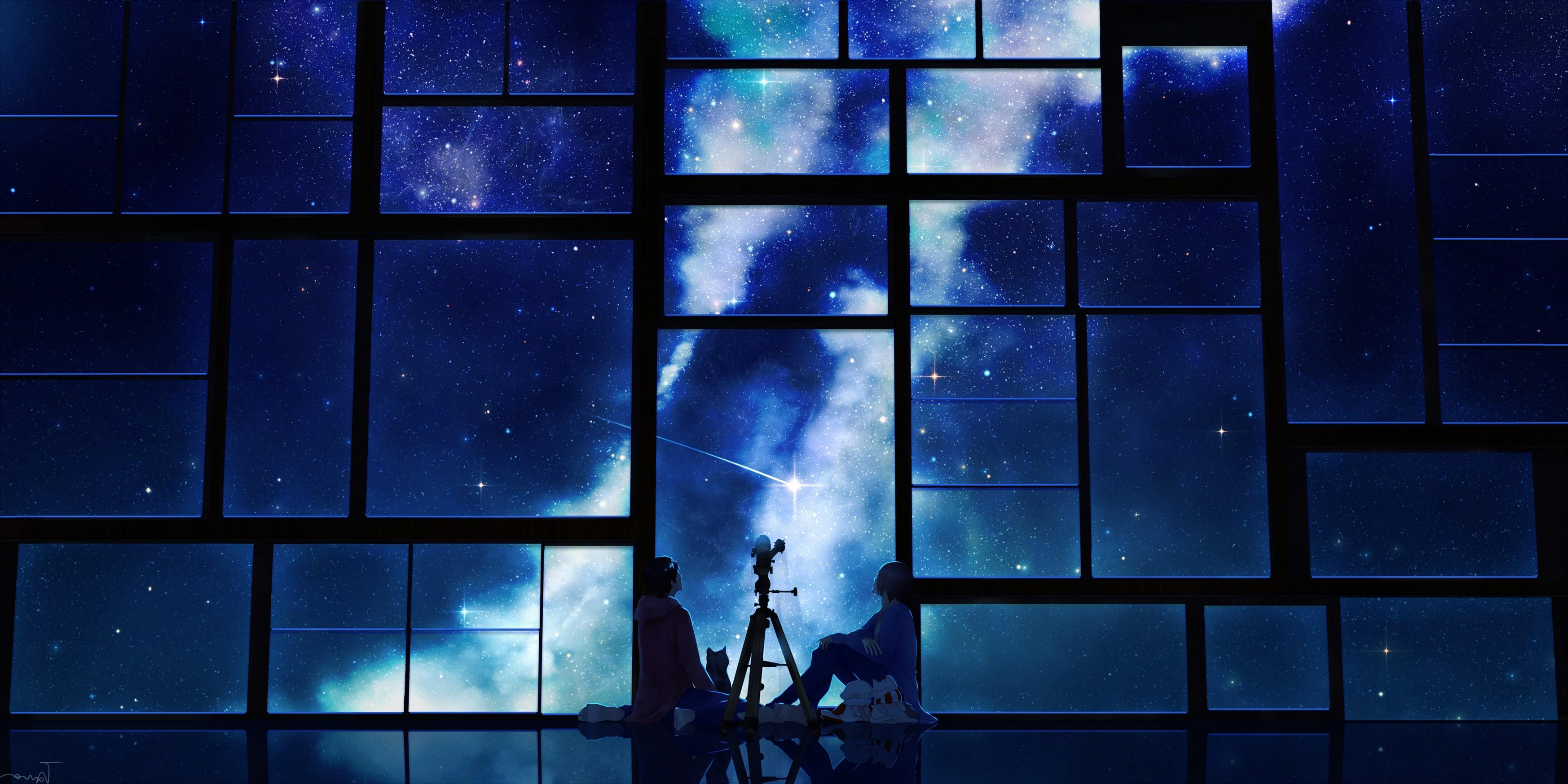 Tamagosho Sky Stars Telescope Night Window Popular Anime Phone Wallpaper