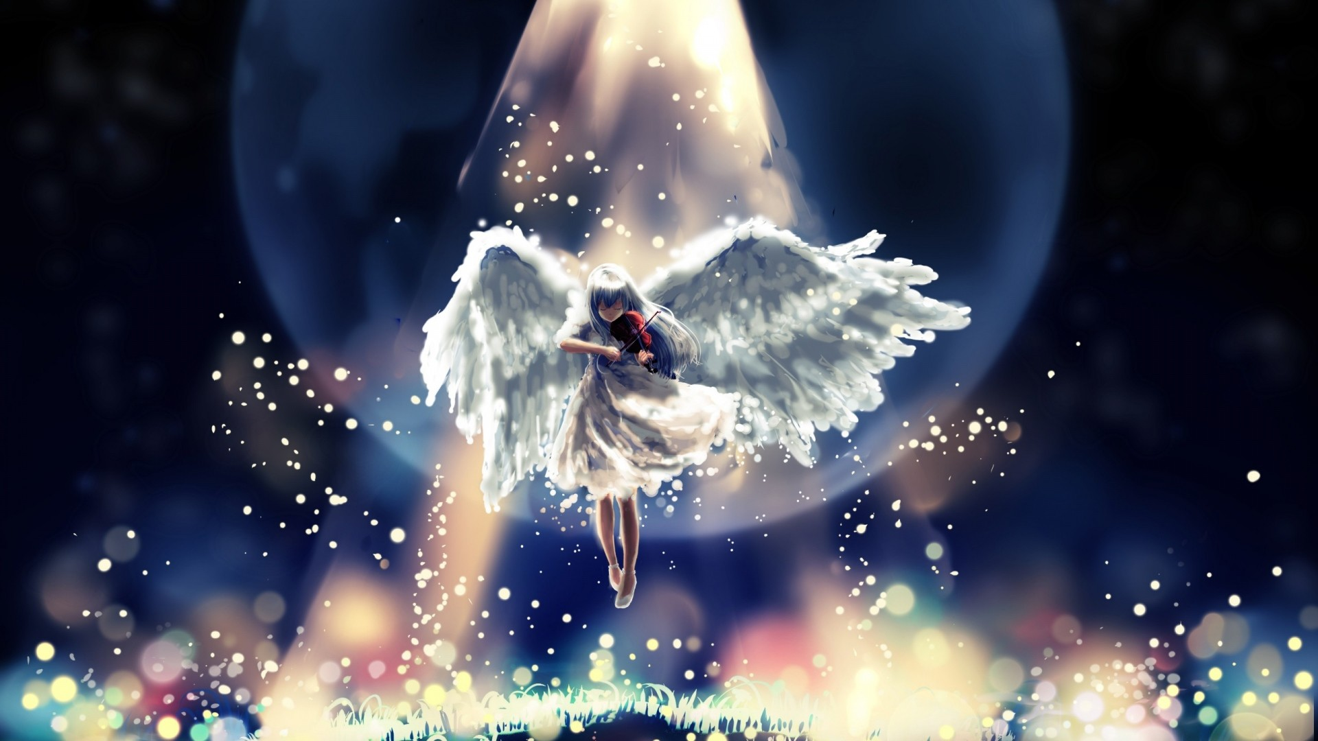Preview wallpaper angel, flying, sky, beautiful 1920×1080