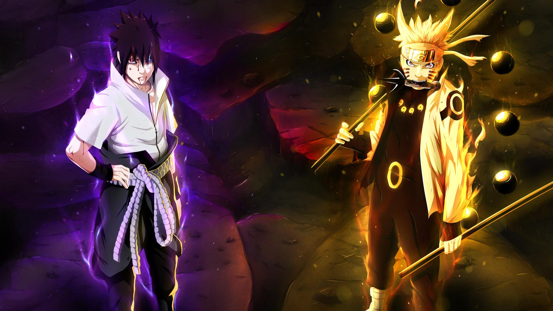 naruto uzumaki sage of six path and uchiha sasuke rinnegan / sharingan eyes