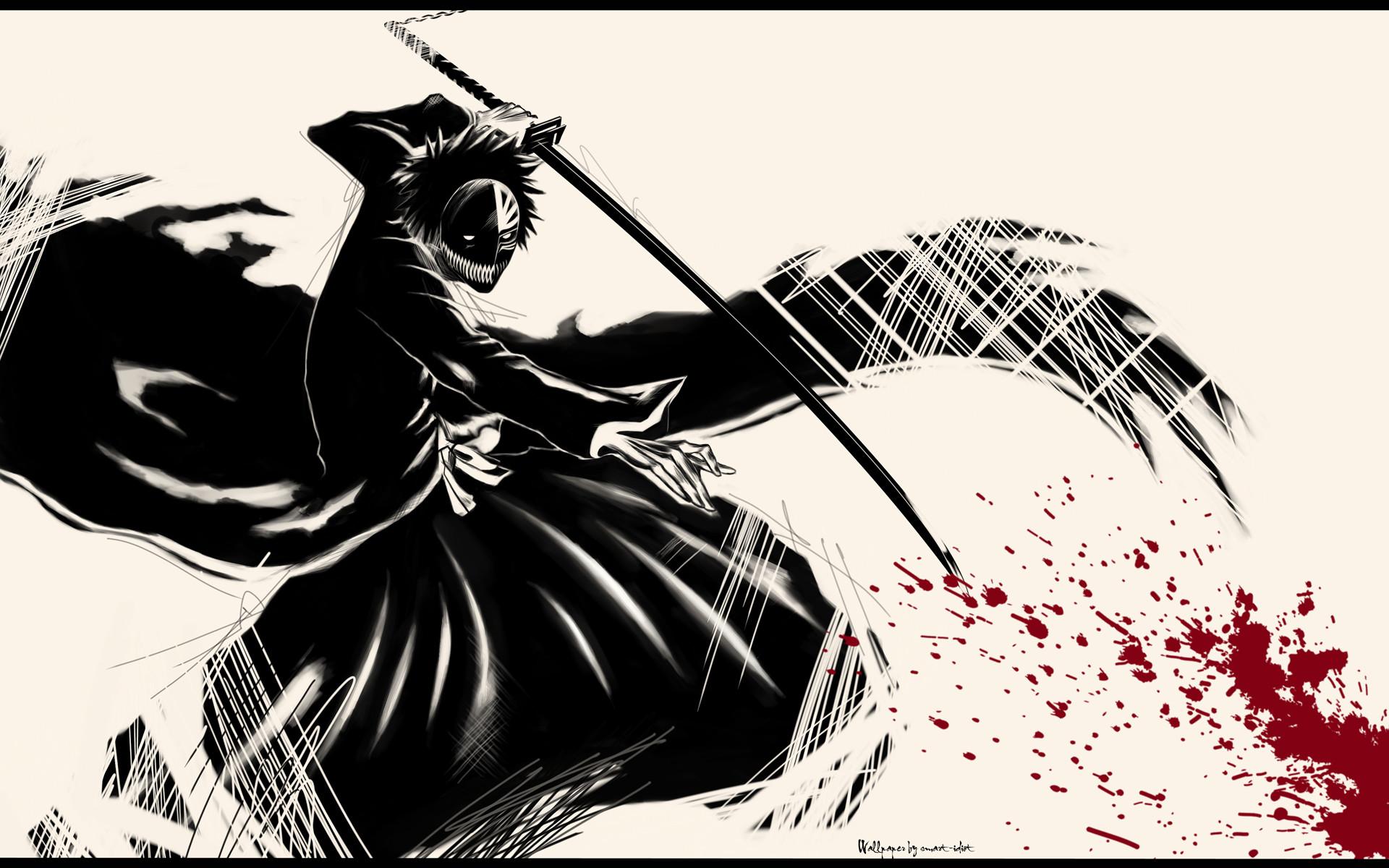 Free ichigo black and red wallpaper background