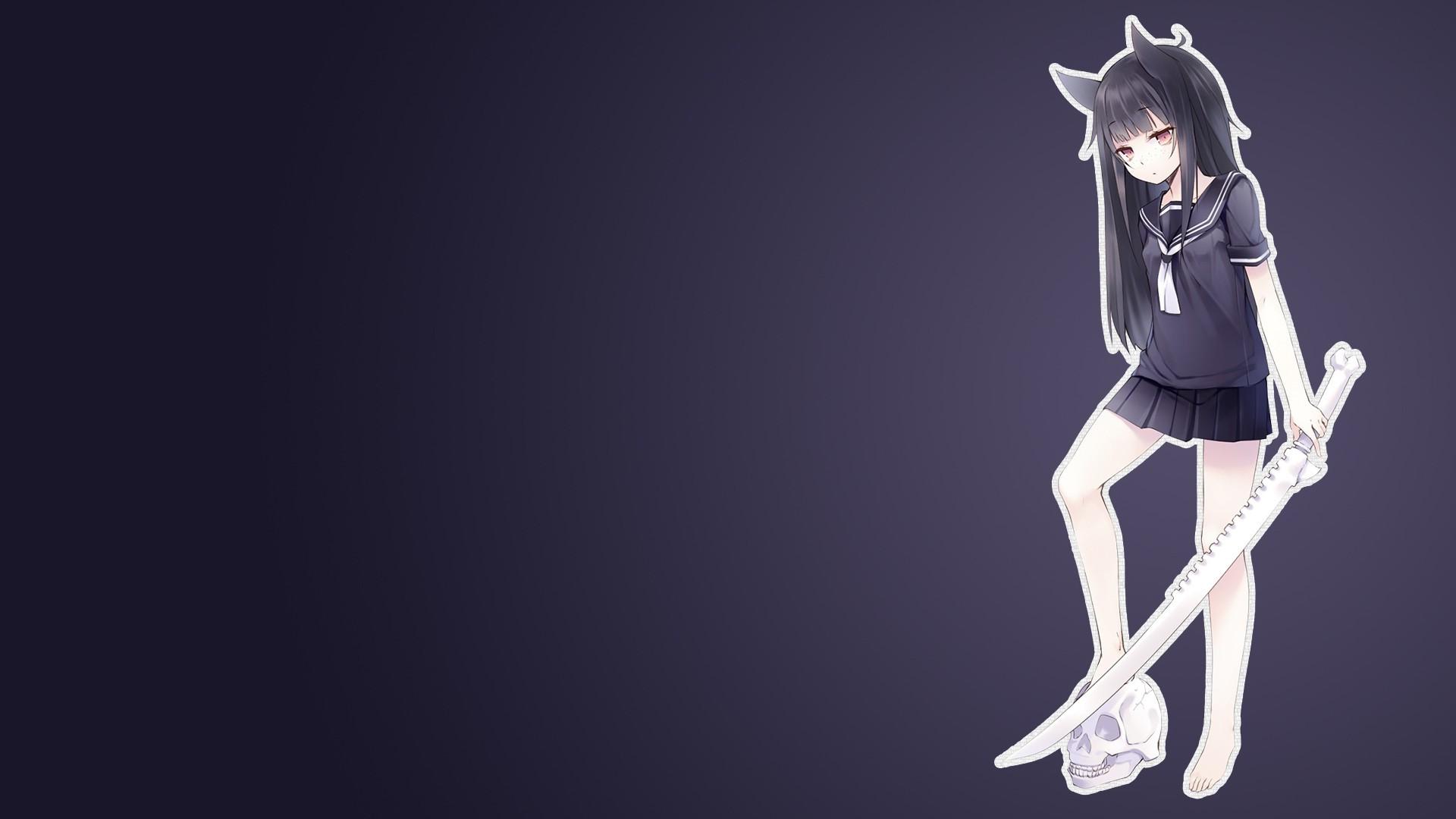 anime, Anime Girls, Simple Background, Original Characters, Nekomu,  Gradient, Nekomimi, Animal Ears, Sword, Skull, School Uniform, Red Eyes,  Black Hair, …