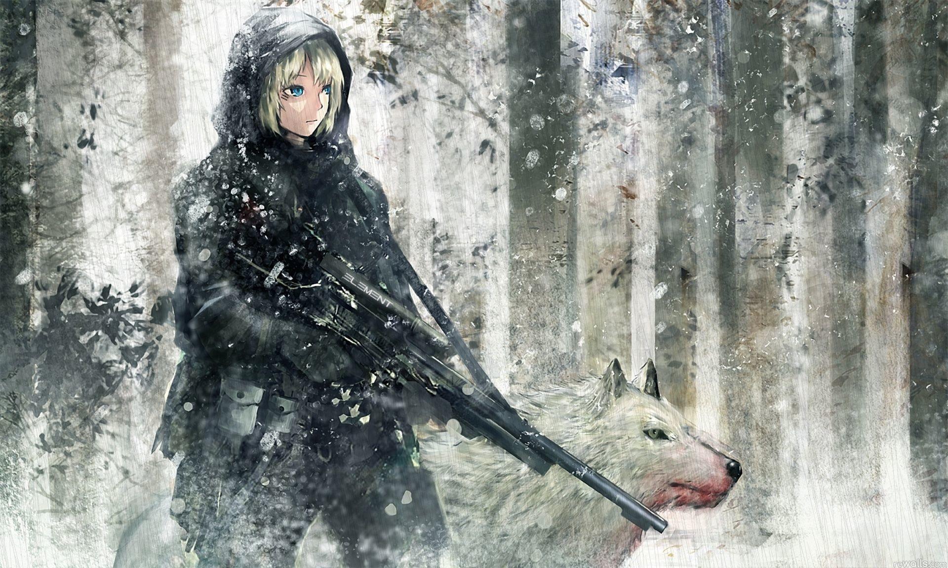 Anime Assassin Girl with Guns – Cartoon Archer Girls with Gun