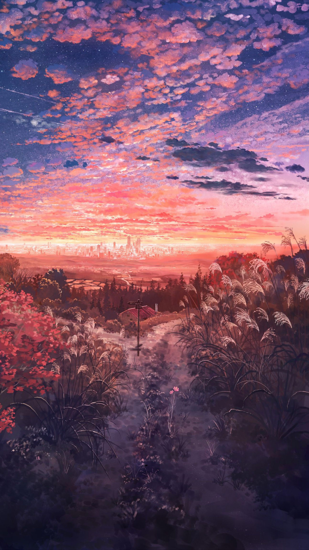 Anime field at dusk