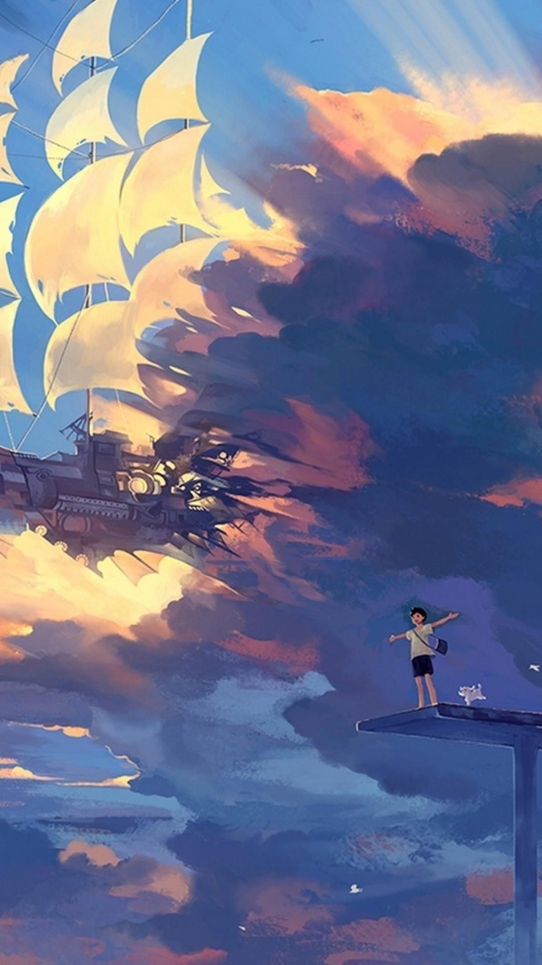 Wallpaper hanyijie, sky, scenery, ship, anime, art