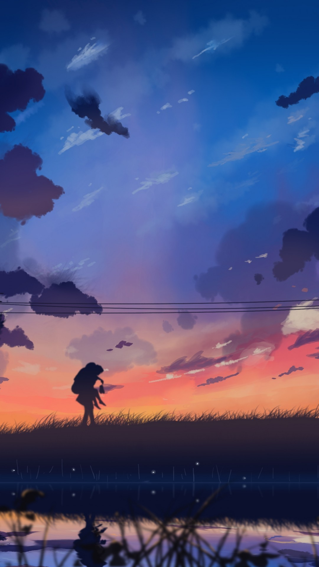Anime Landscape, Windy, Tree, Painting, Clouds