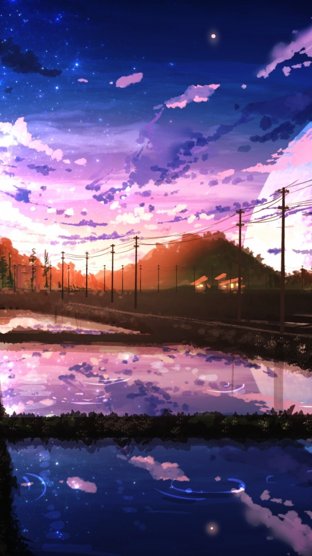 Anime Landscape, Scenic, Moon, Painting, Sky