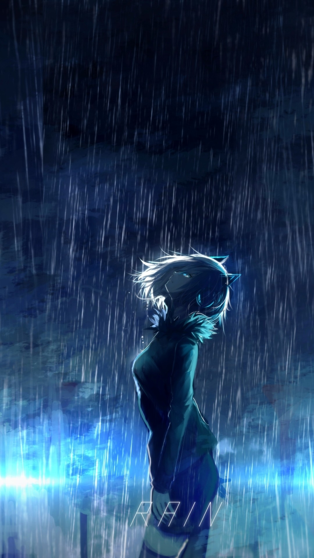 Anime Girl, Scenic, Raining, Animal Ears, Profile View, Night, Dark