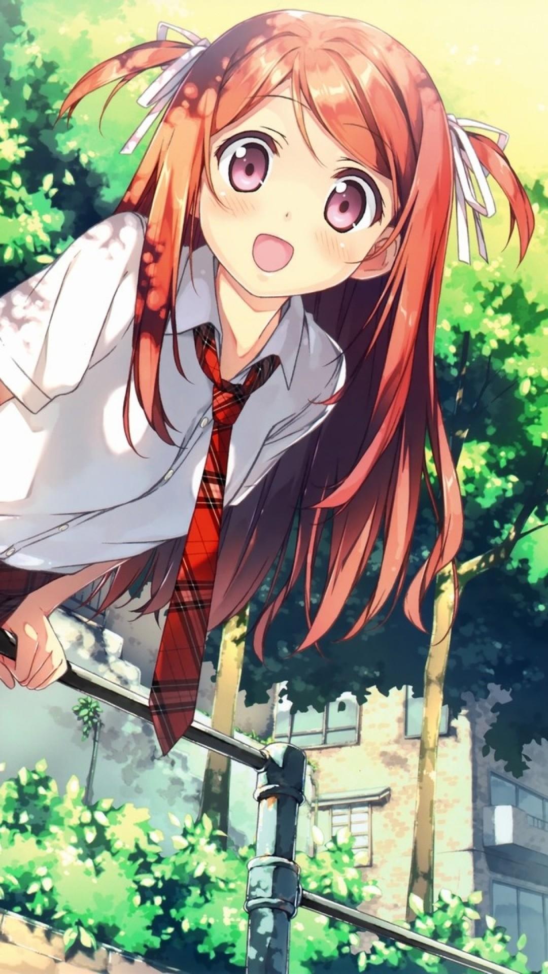 Wallpaper anime, girl, bag, horizontal bar, summer