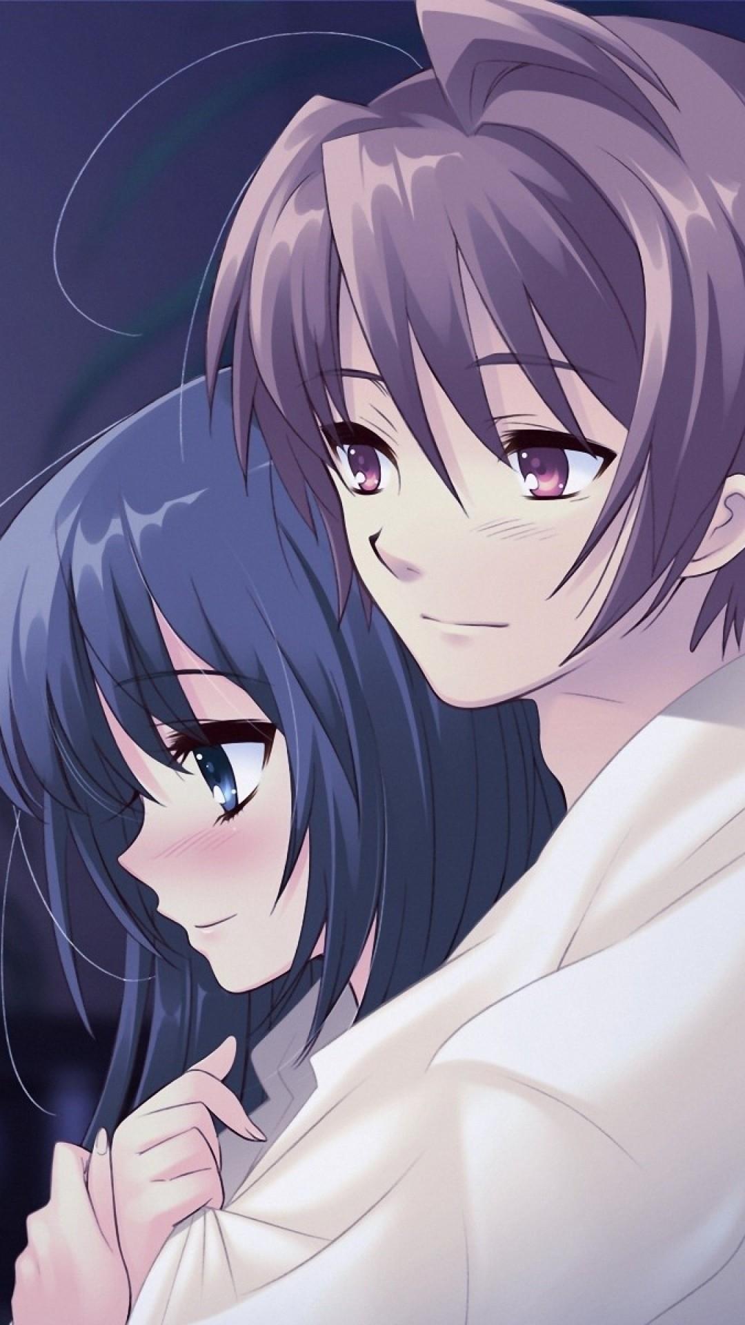 Wallpaper anime, boy, girl, pot, flower, hug, tenderness