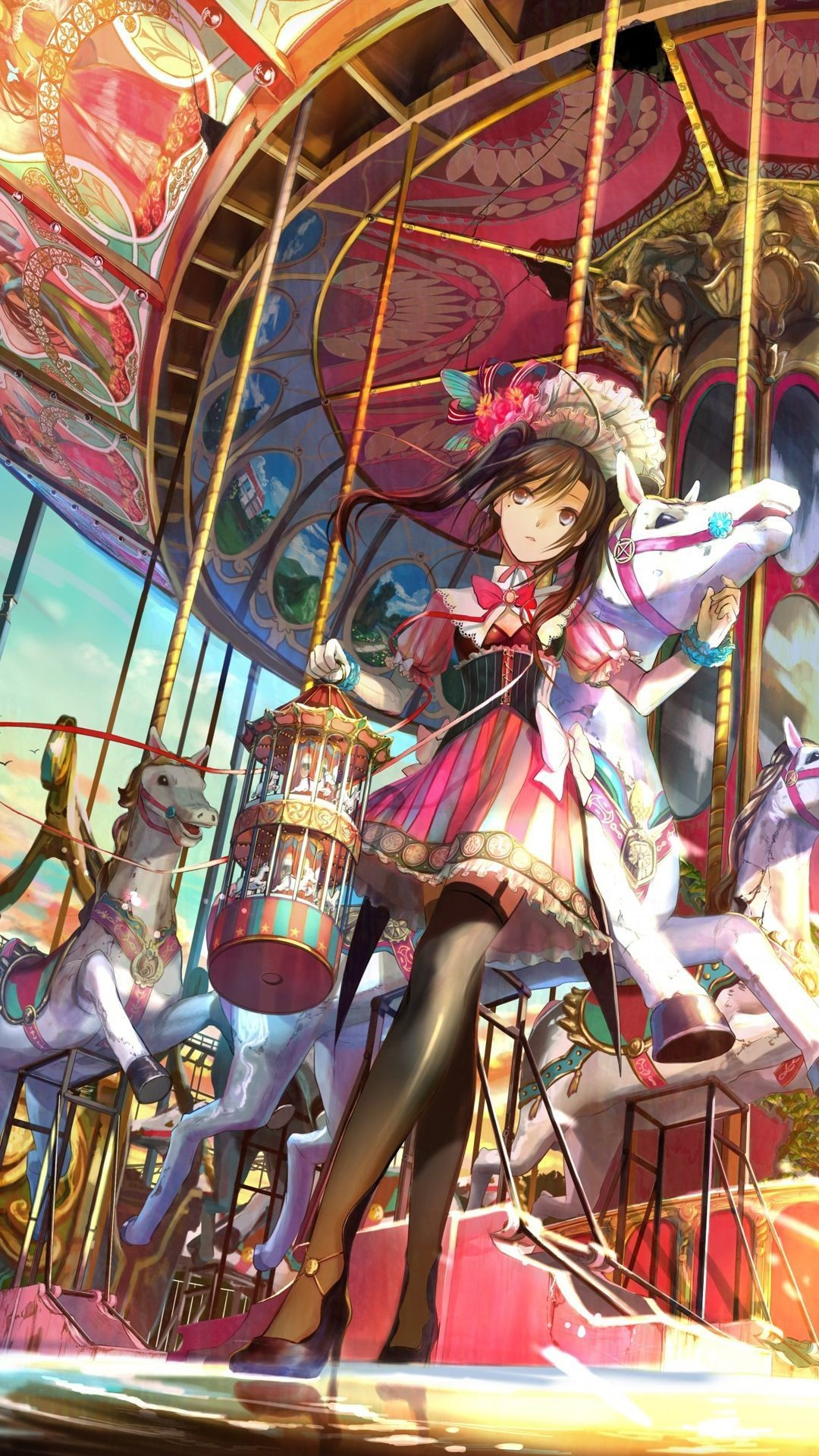 Girls • 27 downloads Milena D · At the carousel Anime mobile  wallpaper