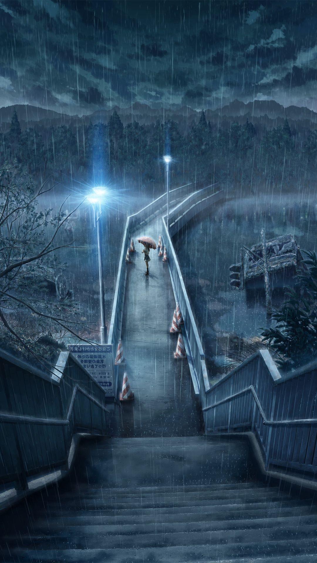 … Rainy night Anime mobile wallpaper