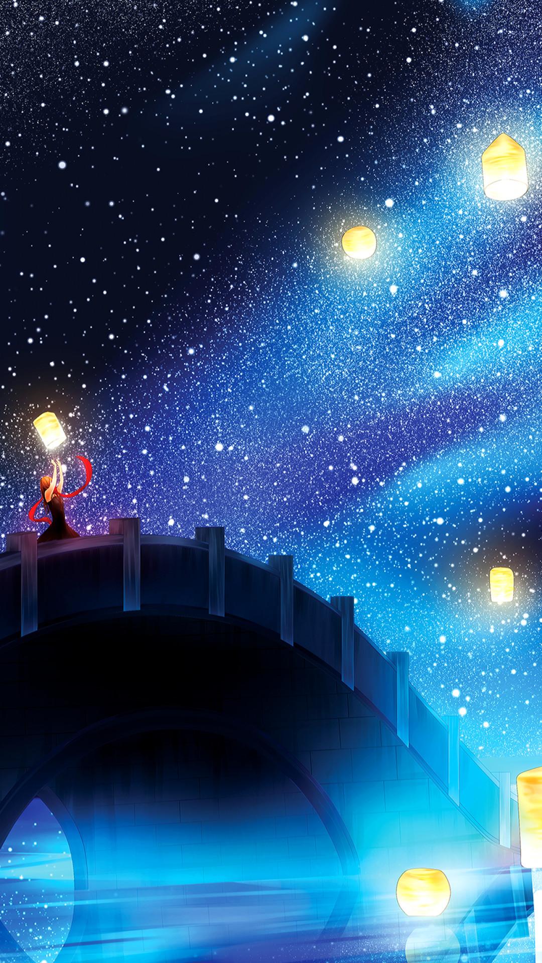 Anime Landscape, Lantern, Stars, Bridge