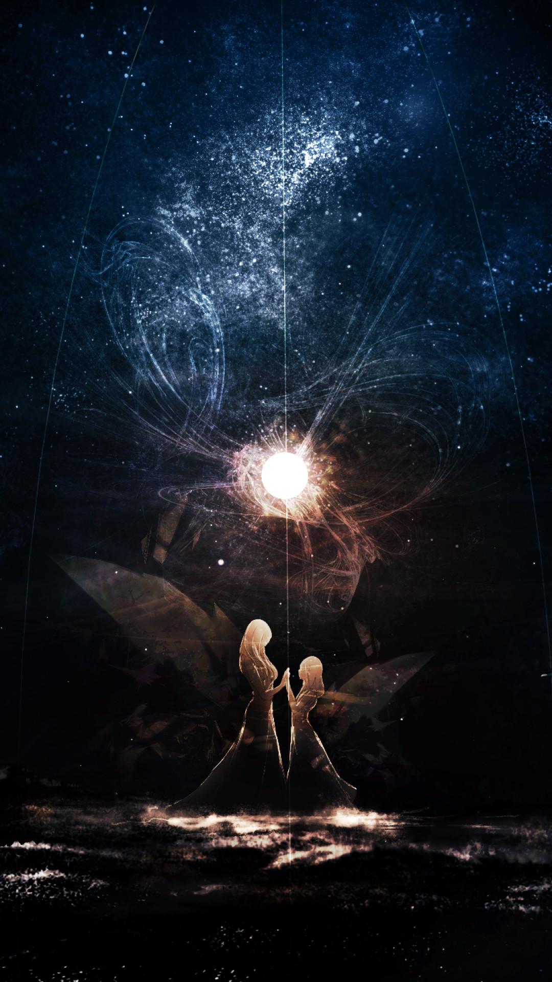Anime Girls, Magic, Stars, Reflection, Dark