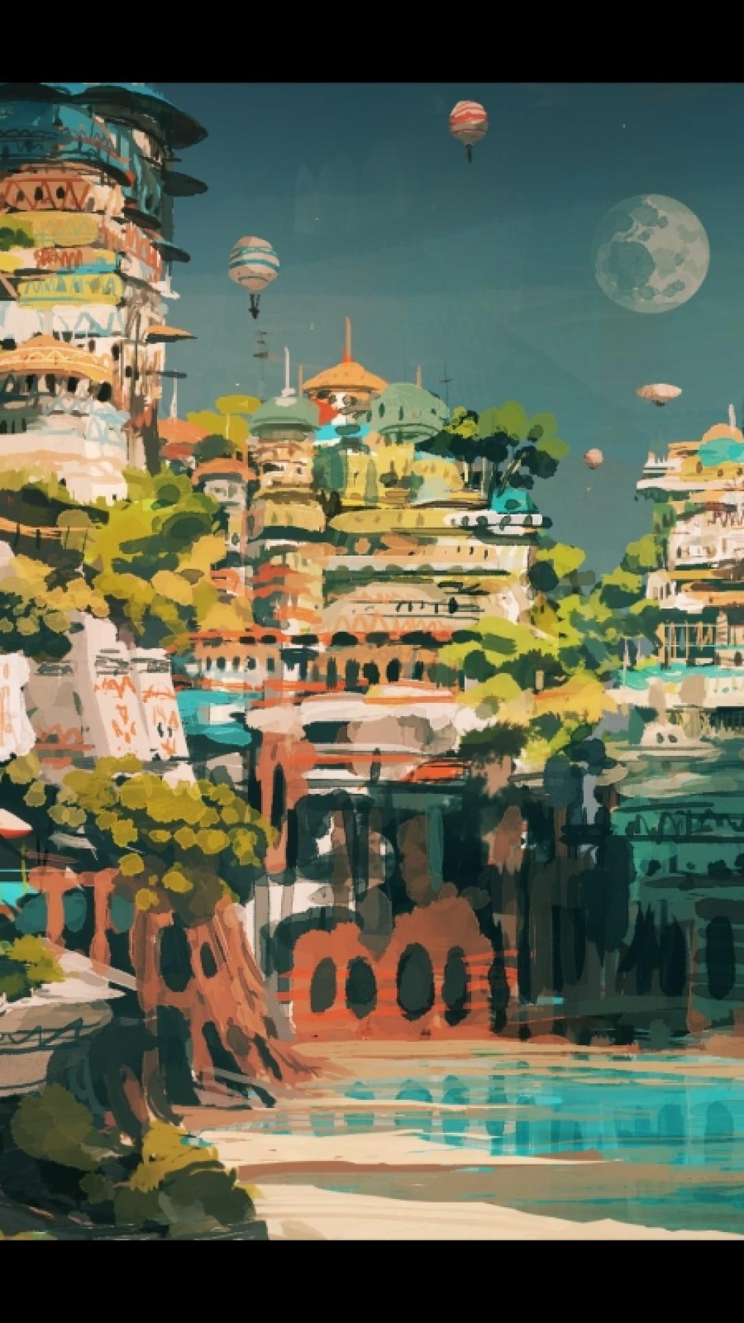 Anime Landscape, Fantay City, Animal Ears, Anime Boy
