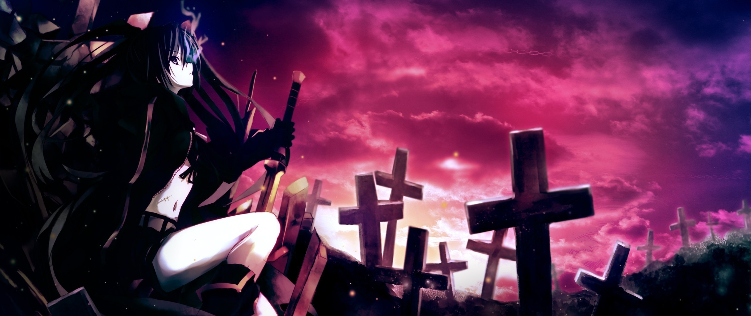 Preview wallpaper anime, girl, thoughtful, sword, cemetery, darkness  2560×1080
