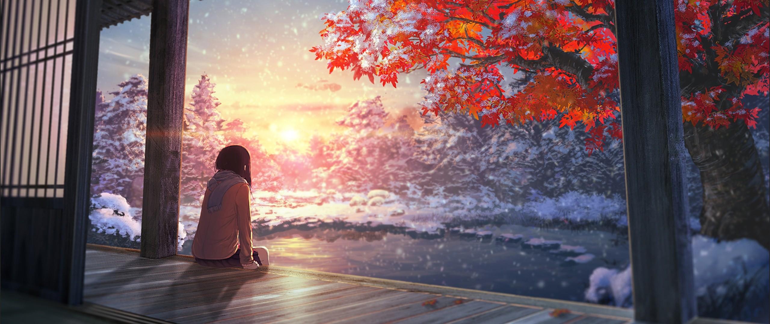 Anime landscape tree y girl cute long hair wallpaper | | 1090477  | WallpaperUP