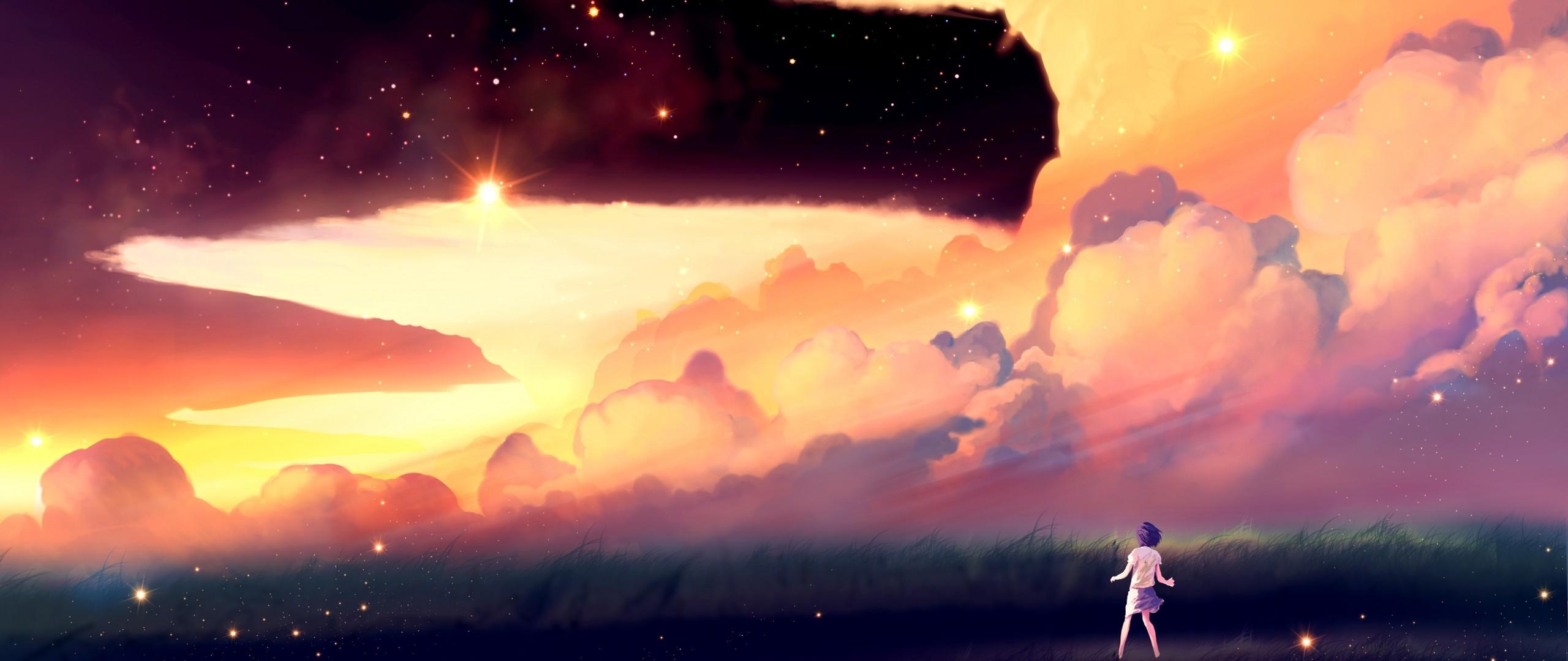 Preview wallpaper akio bako, anime, sunset, girl, clouds 2560×1080