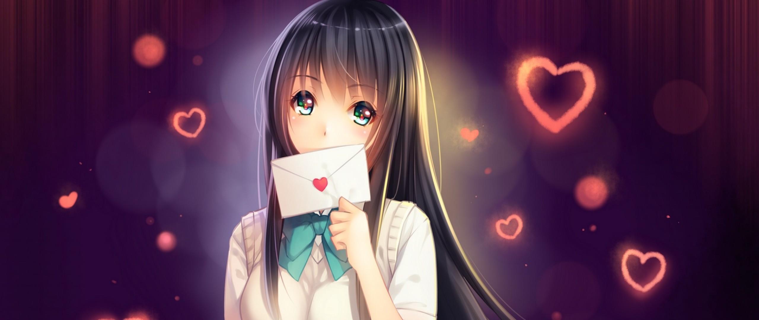 Wallpaper girl, anime, writing, art, heart