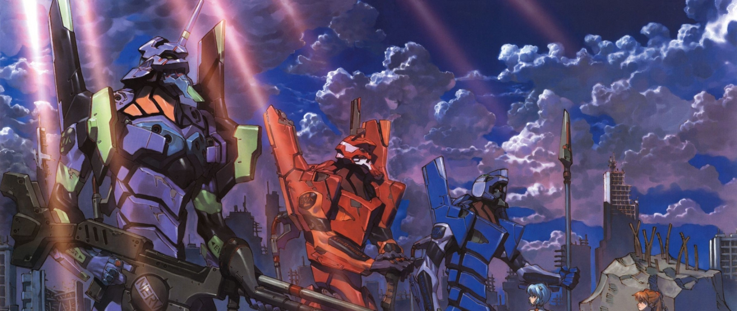Preview wallpaper eva, robots, anime, evangelion 2560×1080