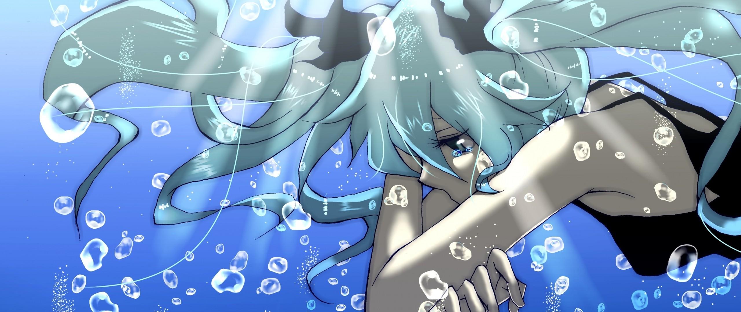 Wallpaper anime, girl, water, bubbles, sadness