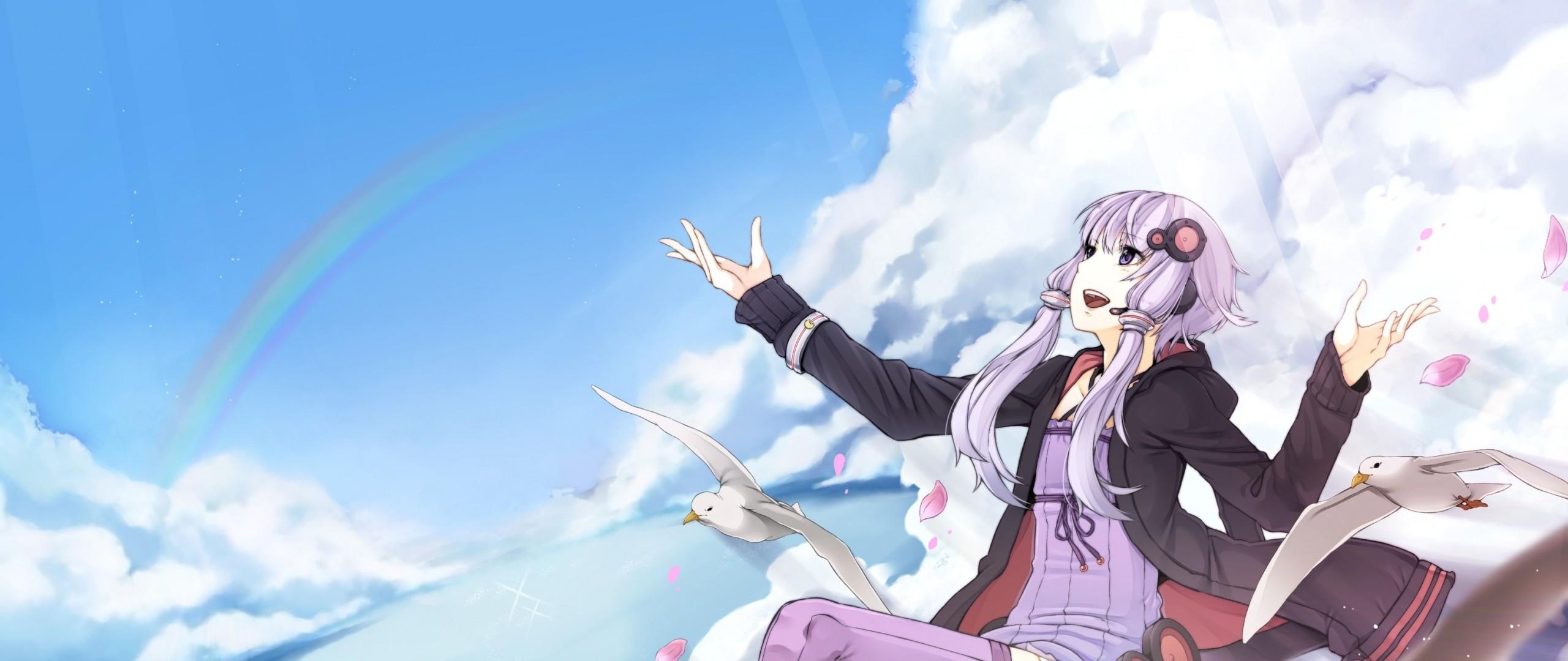 Wallpaper anime, girl, flying, bird, sky