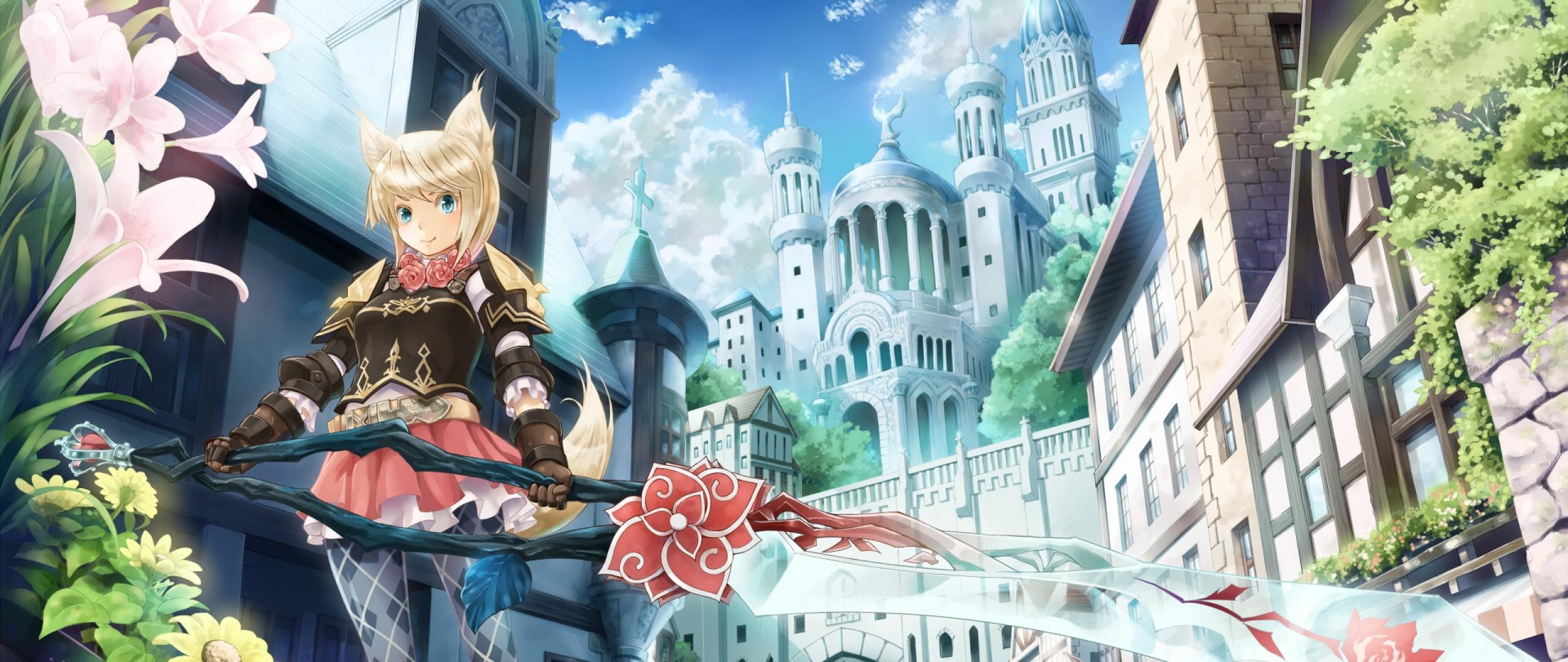 Wallpaper anime, sword, city, flowers