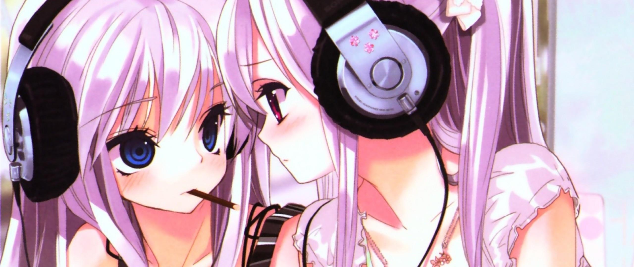 Wallpaper anime, girl, headphones, cigarette, look