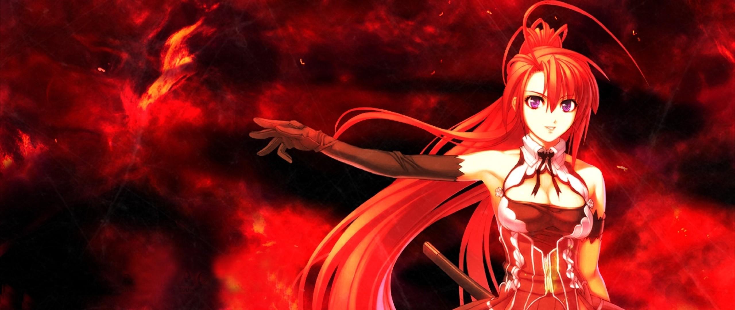 Wallpaper anime, girl, red, hair, sword, background