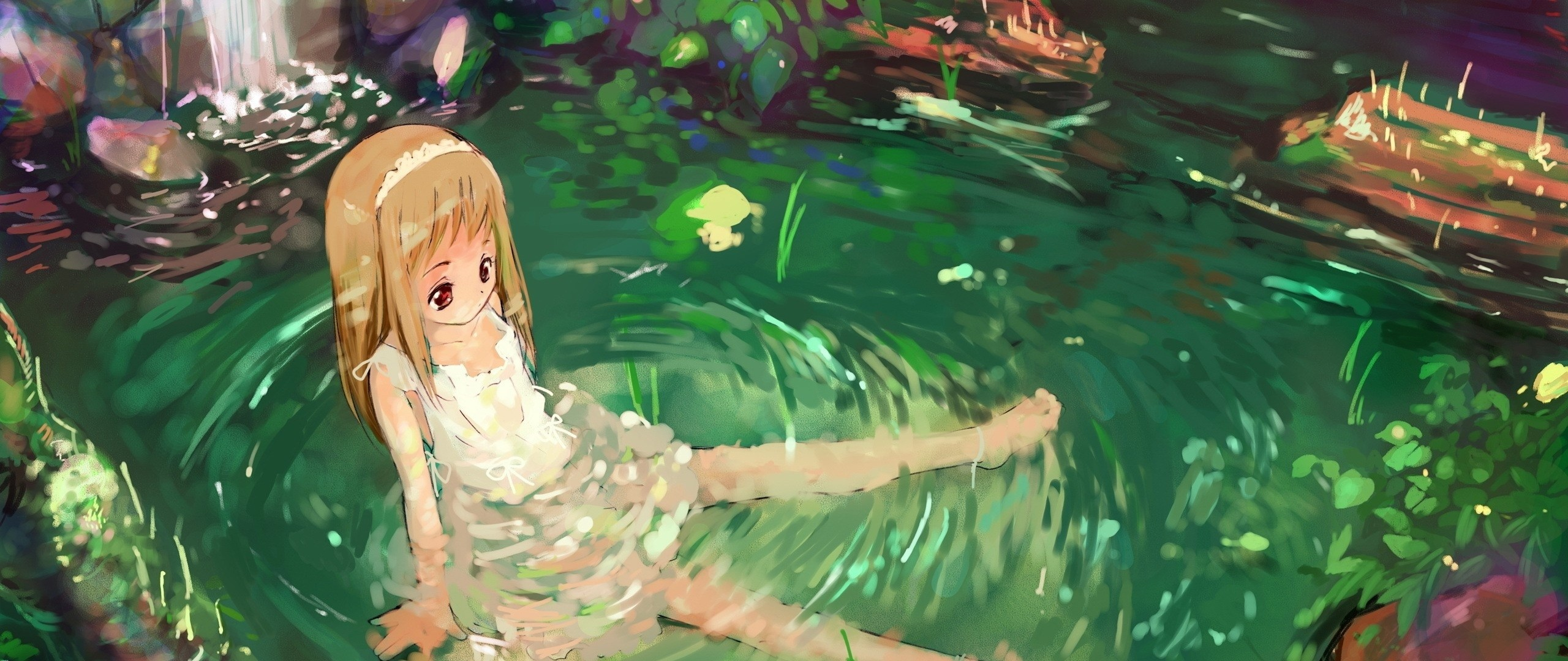 Wallpaper anime, girl, nature, water, sadness