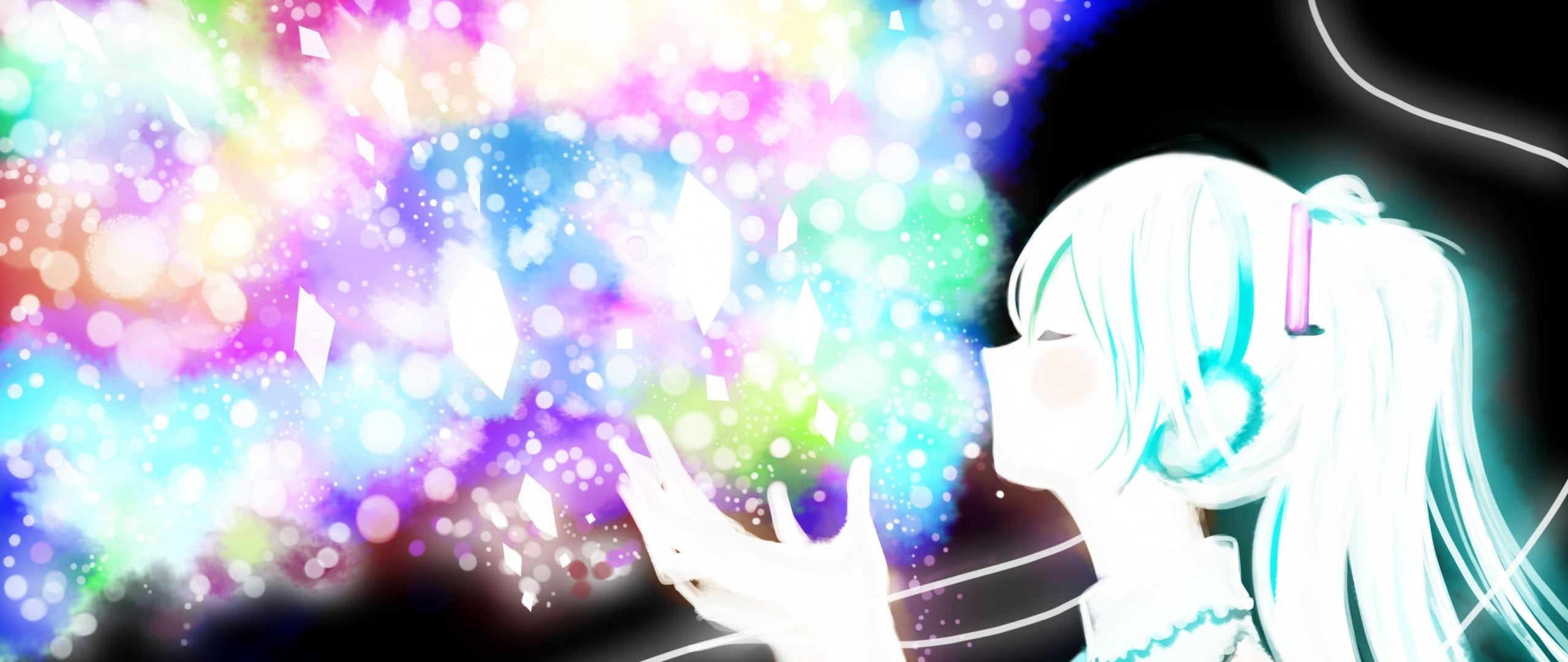 Preview wallpaper hatsune miku, vocaloid, anime, girl, glitter 2560×1080