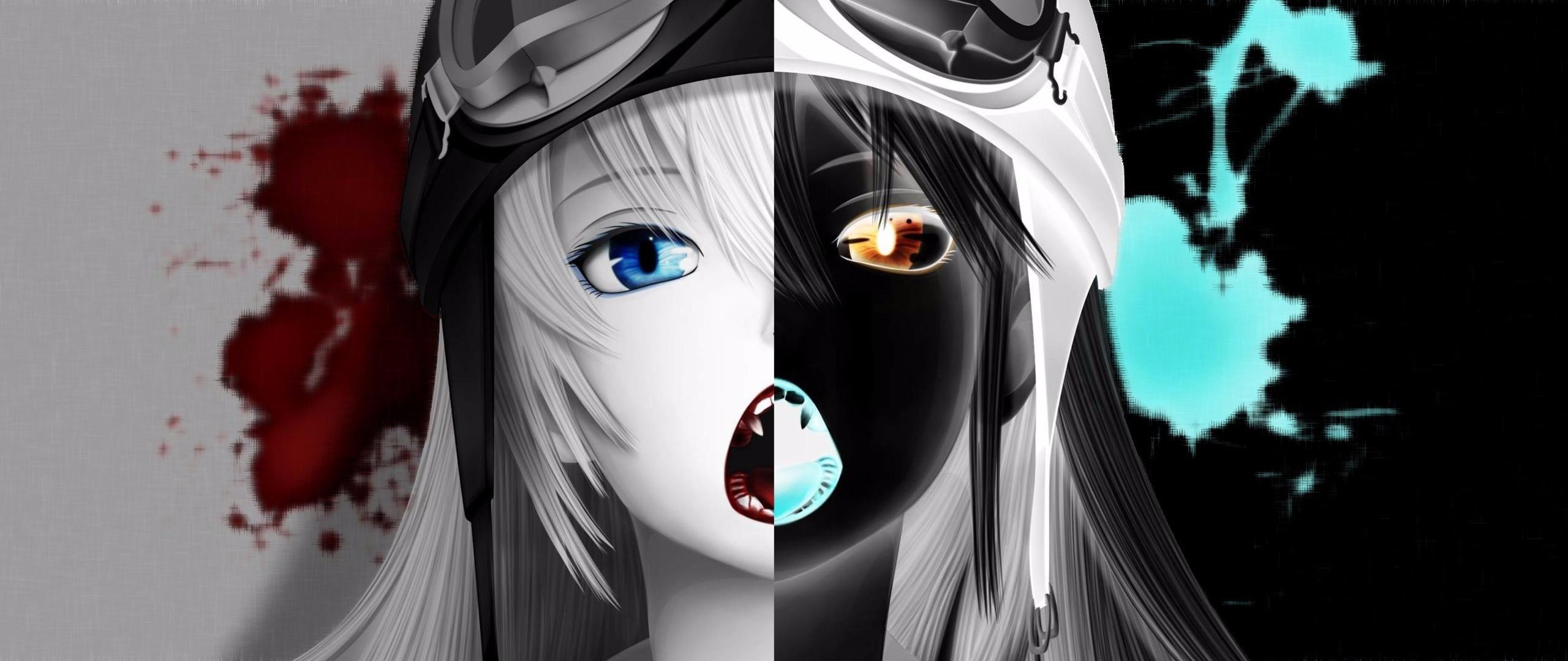 Anime anime multiple display inverted Monogatari Series Oshino  Shinobu blood anime girls