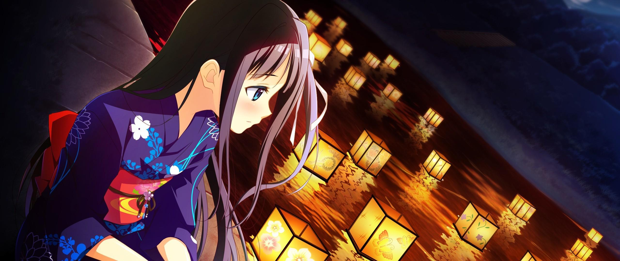 Preview wallpaper black rock shooter, girl, anime, kimono, lanterns  2560×1080