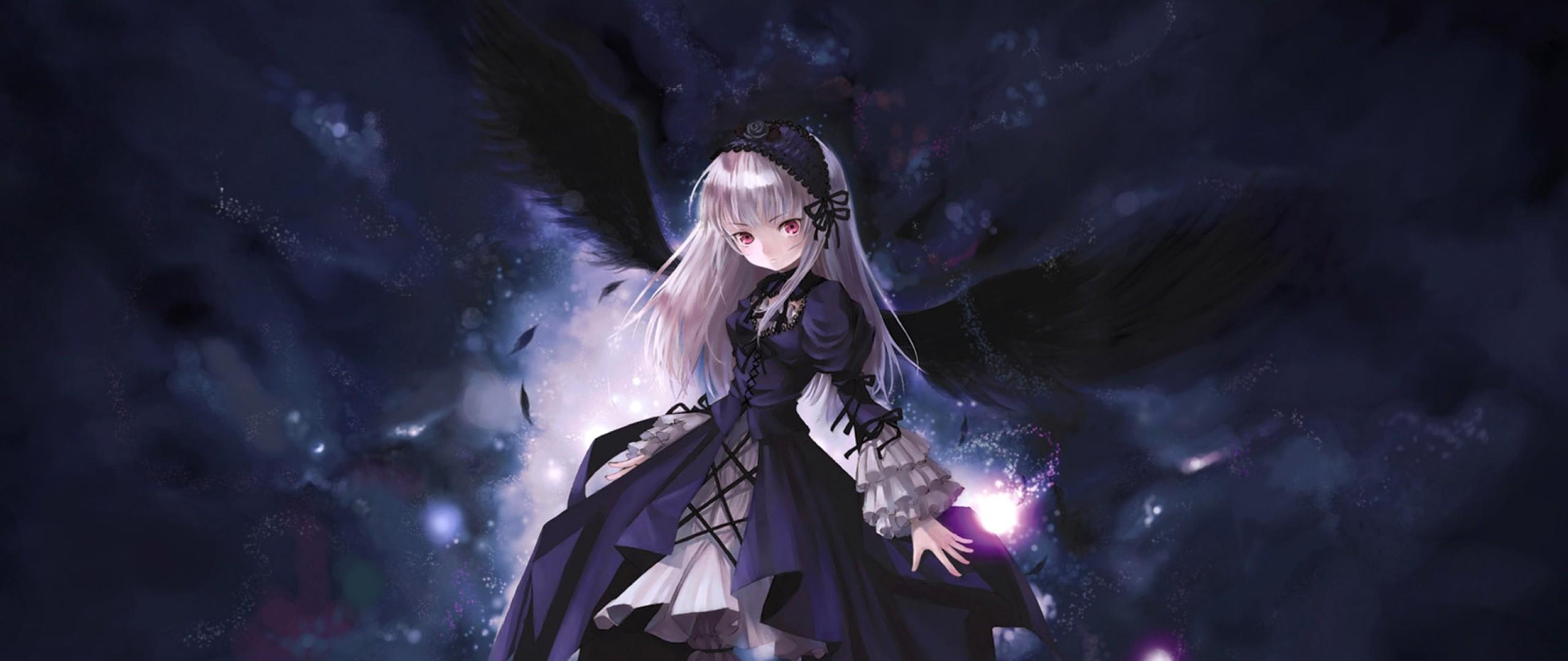 Wallpaper anime, girl, wings, flying, black